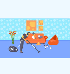 Father cleaning floor with vacuum cleaner while vector