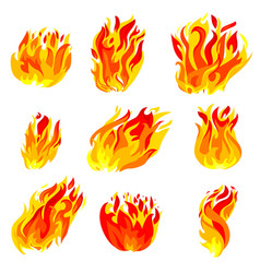 Fire torch flame icons set isolated on white vector