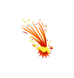 Flame bomb blast or flying fire comet flat vector