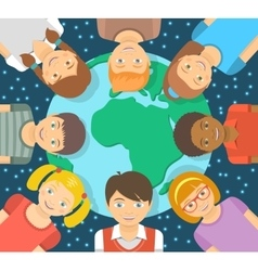 Flat different kids around earth vector
