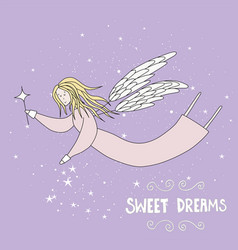 Flying fairy in night sky vector