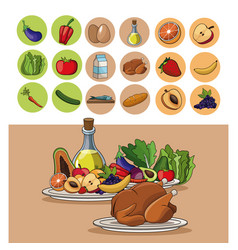 food nutrition benefits vitamins diet image vector image