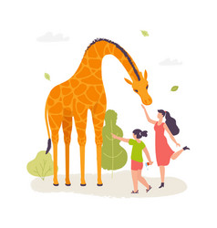 Girls in the zoo interacting with the giraffe vector