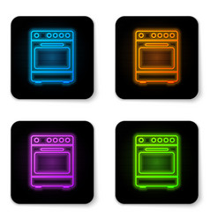 glowing neon oven icon isolated on white vector image