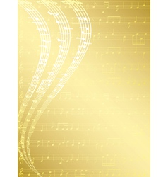 gold musical background with notes vector image