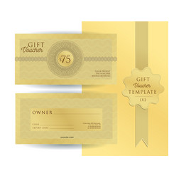 Gold template for 75 dollars gift voucher with vector