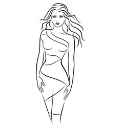 graceful young women in fitting dress vector image