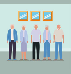 Grandmothers and grandfathers avatars inside room vector