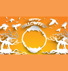 halloween background with haunted tree crow and vector image