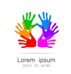 hand print logo template vector image