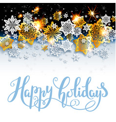 Happy holiday background with shine snowflakes vector