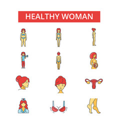 health woman thin line icons linear vector image