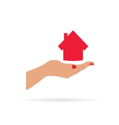 house in hand vector image