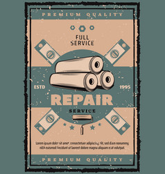 House repair vintage banner with work tool vector