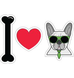 I love drench bulldog hipster with hipster vector image