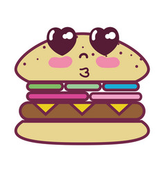 Kawaii cute tender humburger food vector