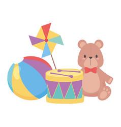 kids toys object amusing cartoon teddy bear drum vector image