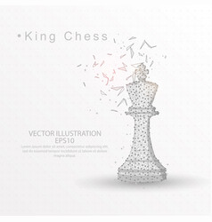 King chess digitally drawn low poly wire frame vector