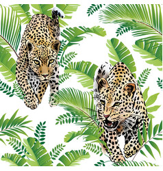 Leopards palm leaves tropical watercolor seamless vector