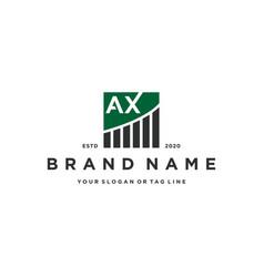 Letter ax chart financial logo design vector