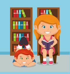 little school kids couple vector image