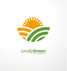 locally grown farm fresh product simple logo desig vector image