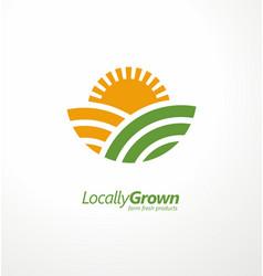 Locally grown farm fresh product simple logo vector