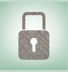 Lock sign brown flax icon on vector