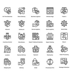 logistic delivery icons set 1 vector image