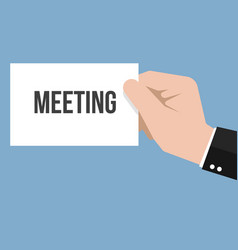 man showing paper meeting text vector image