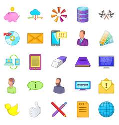 Money transfer icons set cartoon style vector