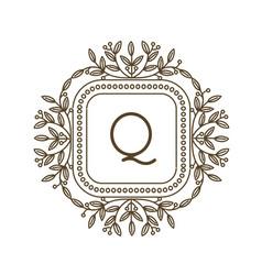 Monogram q logo and text badge emblem line art vector