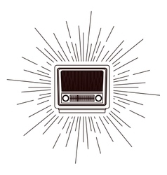 Old radio poster over burst background isolated vector