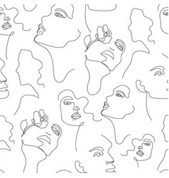 one line drawing women faces seamless vector image