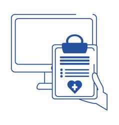 Online doctor computer clipboard report medical vector