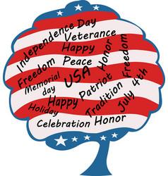 Patriotic tree american typography vector