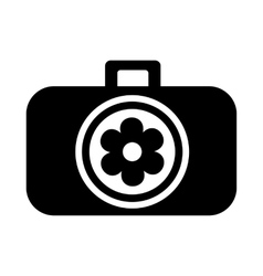 Photo camera with flower in the lens icon vector