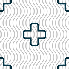 Plus icon sign Seamless pattern with geometric vector image