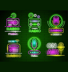 radio glowing logo neon style colored business vector image