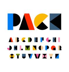 rainbow color art alphabet geometric letters for vector image
