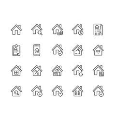 real estate flat line icons set house sale home vector image