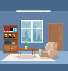 room armchair table plant bookshelf trophy clock vector image