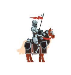 Royal knight sitting on horse with red flag and vector