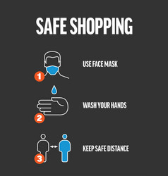Safe shopping instructions - infographic template vector