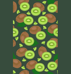 Seamless pattern whole fruit kiwi and piece on vector