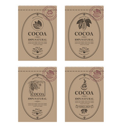 Set cocoa packaging vector