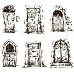 set doodle doors sketch eps 10 vector image