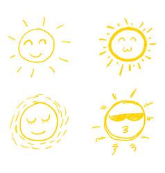 set doodle sundesign elements vector image