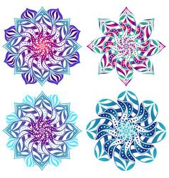 Set four mandalas bright stylish vector