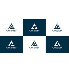 set initial letter a logo design template vector image